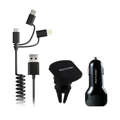 Kit Carregador Veicular 3 em 1 Multilaser USB-C, Micro USB, Lightning - CB134