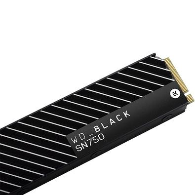 SSD WD Black SN750 Heatsink, 1TB, M.2 NVMe, Leitura 3470MB/s, Gravação 3000MB/s - WDS100T3XHC