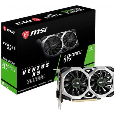 Placa de Vídeo MSI NVIDIA GeForce GTX 1650 Ventus XS 4G OC, GDDR5