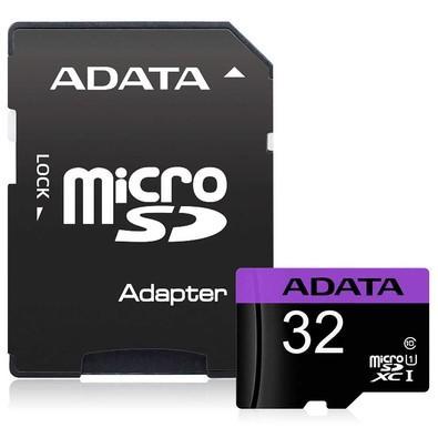Cartão de Memória Adata MicroSDHC 32 GB Classe 10 com Adaptador - AUSDH32GUICL10-RA1