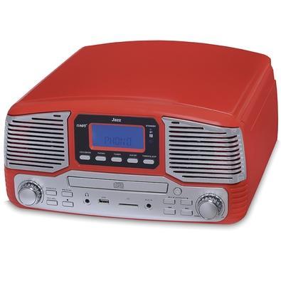 Toca Discos Vitrola Raveo Jazz - Bluetooth, USB Reproduz e Grava, Aux. 10W, Vermelho