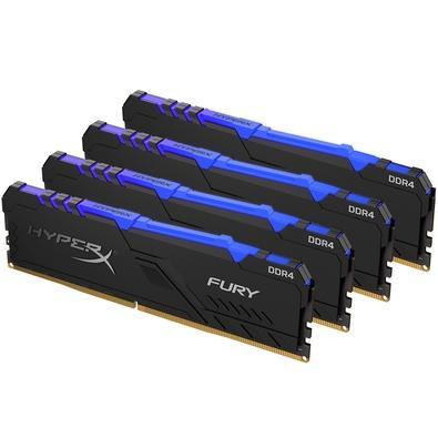 Memória HyperX Fury RGB, 64GB (4x16GB), 2400MHz, DDR4, CL15, Preto - HX424C15FB3AK4/64