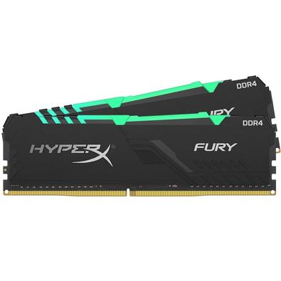 Memória HyperX Fury RGB, 16GB (2x8GB), 3466MHz, DDR4, CL16, Preto - HX434C16FB3AK2/16