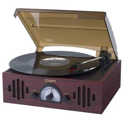 Toca Discos Vitrola Ion, AM/FM, Entrada Auxiliar, Alto Falantes, 110V, Marrom Escuro - TRIOLP