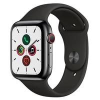 Apple Watch Series 5 Cellular, GPS, 44mm, Aço Inoxidável, Pulseira Preta - MWWK2BZ/A