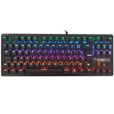 Teclado Mecânico Gamer Gamdias Hermes E2, LED Rainbow, Switch Gamdias Blue, ABNT2 - HERMES E2
