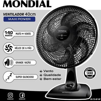 Ventilador de Mesa Mondial Maxi Power, 40cm, 3 Velocidades, 110V - NV-75-6P-NP