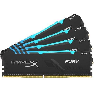 Memória HyperX Fury RGB, 64GB (4x16GB), 3600MHz, DDR4, CL17, Preto - HX436C17FB3AK4/64
