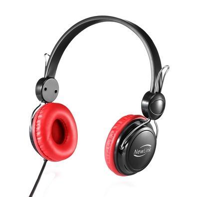 Headphone Newlink Shiny, P2, Preto/Vermelho - HS105