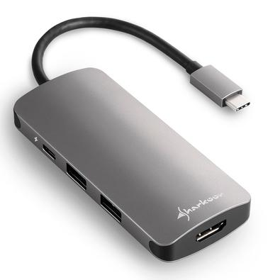 Adaptador USB 3.0 Type C Sharkoon Multiportas, Cinza Escuro - Adapter Dark Grey
