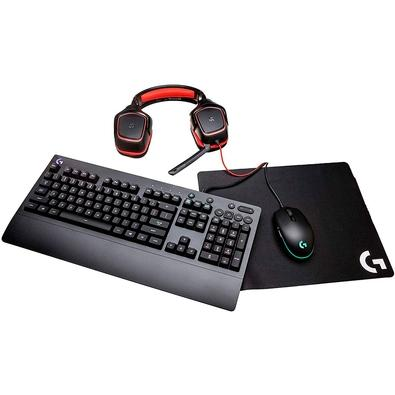 Kit Gamer Logitech G Gear UP - Mouse G203 RGB + Mousepad G240 + Teclado G213 RGB US + Headset G230 - 991-000287