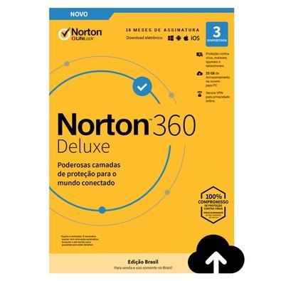 Norton Antivirus 360 Deluxe ND 25GB para 3 Dispositivos - Digital para Download - 21405566