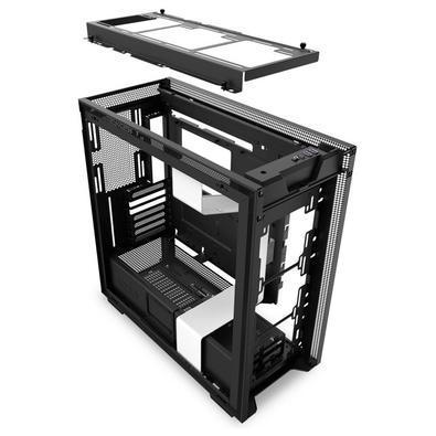 Gabinete Gamer NZXT H710, Full Tower, com FAN, Lateral em Vidro, Branco/Preto - CA-H710B-W1