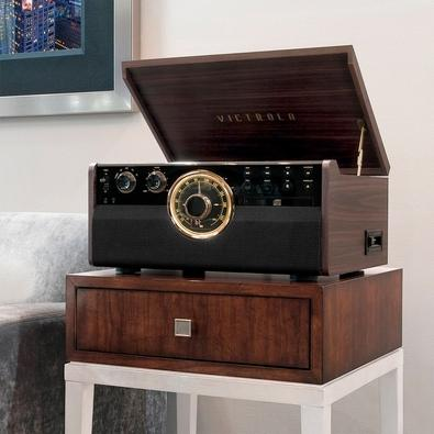 Toca Discos Victrola 6 em 1, Bluetooth, CD, Fita, FM, Marrom Expresso - VTA-270B-ESP