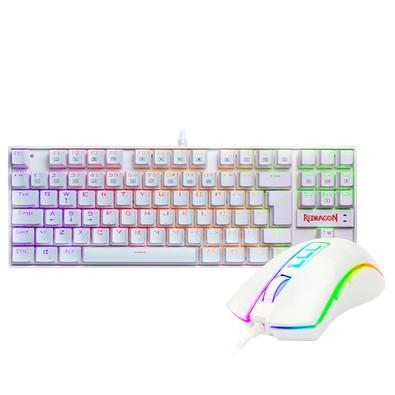 Menor preço em Kit Gamer Redragon - Teclado Mecânico Kumara, RGB, Switch Outemu Blue, PT, Branco + Mouse Cobra M711, Chroma, 10000DPI, Branco - S118W