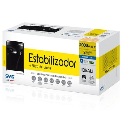 Estabilizador SMS Progressive III 2000 VA, Mono 115V, Ideal para impressora a laser - 16217