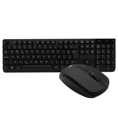 Teclado e Mouse Sem Fio OEX Work, Nano USB 2.4GHz, 1200DPI, ABNT2, Preto - TM407