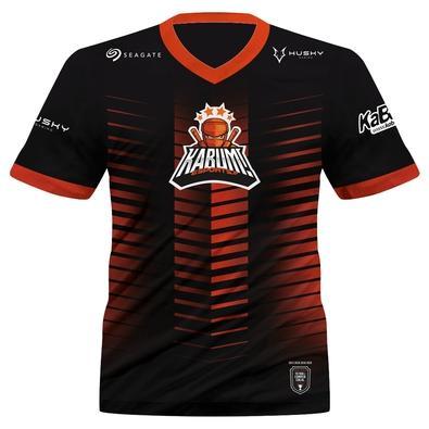 Camiseta Uniforme Oficial KaBuM! e-Sports 2021, Preta, Laranja, Ninja, Dry-Fit, Proteção UV 50+, 100% Poliester, Tamanho G