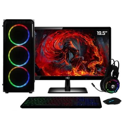 Computador Gamer Completo AMD 10-Core, CPU 3.4Ghz 8GB DDR4, Radeon R7 Series 2GB, SSD e HD 2TB, Kit Gamer Skill, Monitor HDMI LED 19.5
