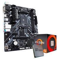 Kit Processador AMD Ryzen 5 1600, Cache 19MB, 3.2GHz + Placa-Mãe Gigabyte B450M S2H, AM4, mATX, DDR4
