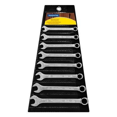 Jogo de Chaves Combinadas Tramontina Basic, Corpo em Aço Especial, Cromado, 8 Peças - 41128208