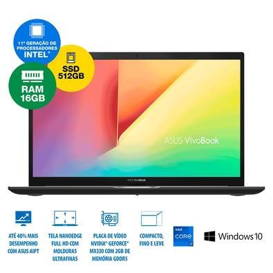 Notebook Asus VivoBook 15 Ultrafino Intel Core I7-1165G7, GeForce MX330 2GB, 16GB, 512GB SSD, Windows 10 Home, 15.6´, Preto - K513EP-EJ229T