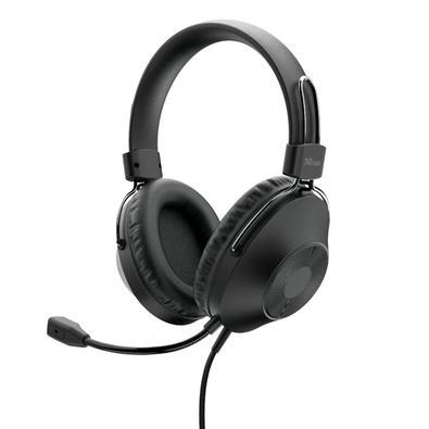 Headset Trust Ozo, Conexão USB, Driver 40mm, Cabo de 2m com Controle de Volume, Preto - 24132