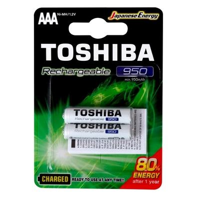 Kit 6 Pilhas Recarregáveis AAA Toshiba, 2x Unidades, 950mAH - 72476