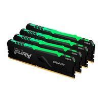 Memória Kingston Fury Beast, RGB, 32GB (4x8GB), 3200MHz, DDR4, CL16, Preto - KF432C16BBAK4/32