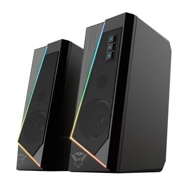 Caixa de Som Gamer Trust GXT-609 Zoxa, RGB LED, Driver 40mm, 12W, USB, 2 Canais, Preto - 24070