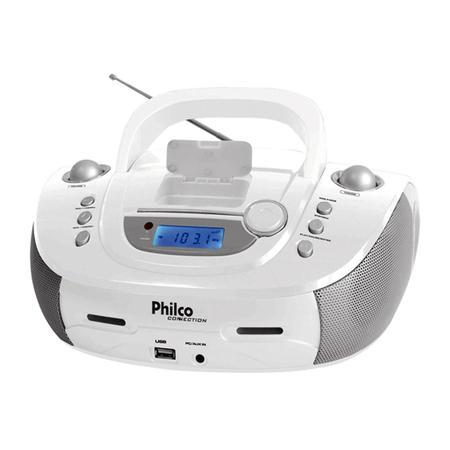 Rádio Portátil Philco - Dock Connection, MP3, USB, Aux. e FM Controle Remoto 4W RMS Bivolt Branco- PB126BR 056603102