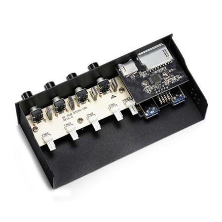 Controlador de FAN DeepCool Rock Master V3.0 com Micro SD USB 3.0 5 25 Bay Fitness DP-FC4F2USD-RMTV3