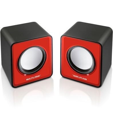 Caixa de Som 2.0 Multilaser Mini 3W RMS USB p/ Notebook Vermelha  - SP197