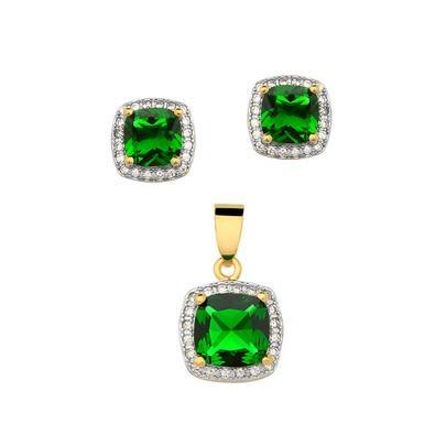 Conjunto de Brincos e Pingente Quadrado Verde Esmeralda - CJZY-T098-G