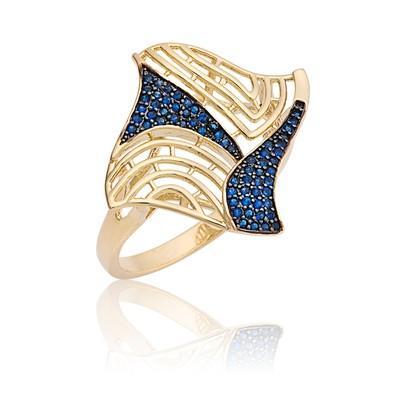 Anel Dourado com Micro Zircônias Safira Azul Tamanho 20 - ANZ0680