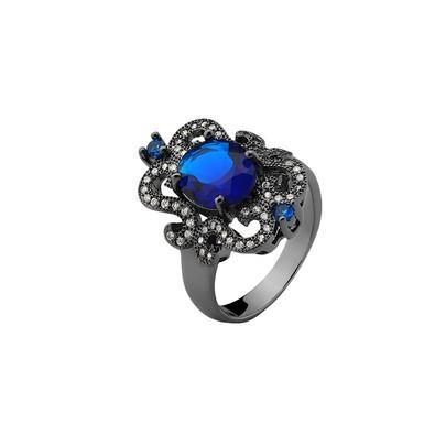 Anel Clássico Azul Zafira com Zircônias Brancas e Azuis Tamanho 16 - MT102