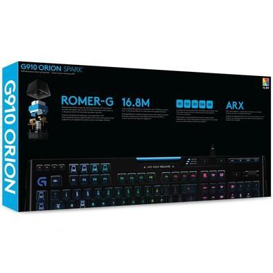 Teclado Gamer Logitech G910 Mecânico Orion Spark RGB Lightsync Switch Romer-G US