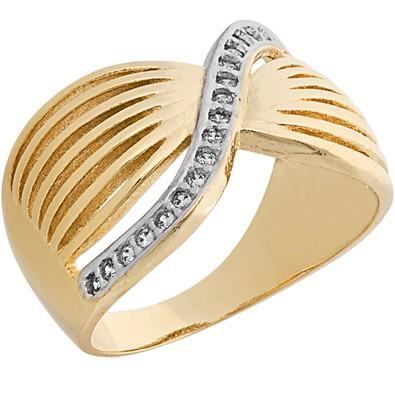 Anel Dourado com Zircônias Tamanho 20 - AN700226F