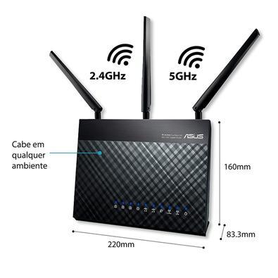 Roteador Gamer Wireless ASUS RT-AC68U, Dual band AC1900Mbps, AiMesh, 3 Antenas, USB 3.0, DualCore, Rede Gigabit, AiRadar
