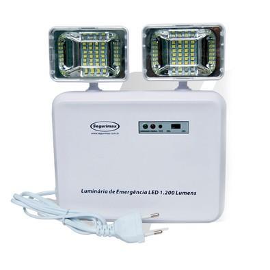 Iluminação de Emergência Segurimax com 2 Faróis LED 1200 Lumens Bivolt 24707