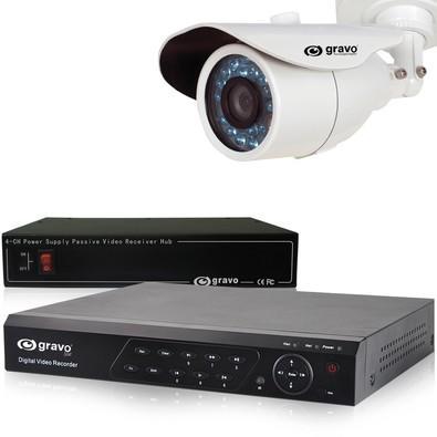 Kit CFTV Gravo: 1 DVR 4 canais + 4 Câmeras 800TVL + 1 Conversor de vídeo