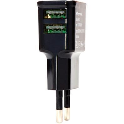 Fonte de Energia Fortrek, USB 2 Portas, 2.1A, Preto -  UPK-121
