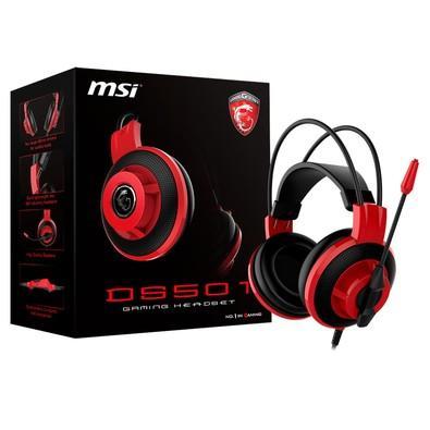 Headset Gamer MSI Preto e Vermelho DS501