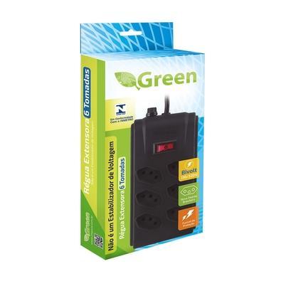 Régua Extensora Green 6 Tomadas Duplas - 075-9532