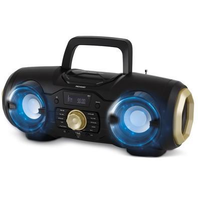 Rádio Portátil Philco - Bluetooth, CD, MP3, USB, Aux. e FM 100W RMS Bivolt Preto/Dourado - PBO400BT 056603733