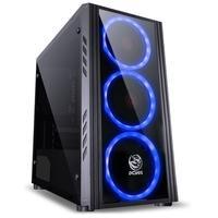 Gabinete Gamer PCYes Saturn sem Fonte, Mid Tower, USB 3.0, 3 Fans LED Azul, Preto com Lateral em Acrílico - SATPTAZ3FCA