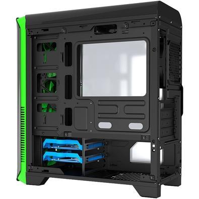Gabinete Gamer Gamemax Hero sem Fonte, Mid Tower, USB 3.0, 3 Fans, Preto e Verde com Lateral em Acrílico - H602-BG