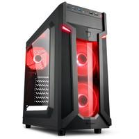 Gabinete Gamer Sharkoon VG6-W Red ATX sem Fonte, USB 3.0, 3 Fans LED, Preto com Lateral em Acrílico