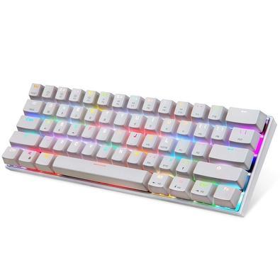 Teclado Gamer Motospeed CK62 Bluetooth, Mecânico, Switch Outemu Vermelho, RGB, ANSI, Branco - FMSTC0028VEM