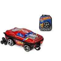 Mochila Escolar Hot Wheels Night Shifter 3D com Rodinhas e Lancheira MaxToy